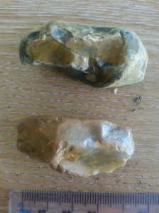 Two pieces of flint found in a garden near the school.